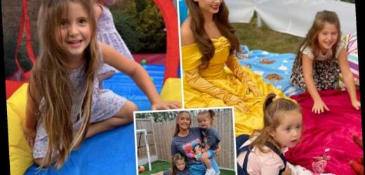 Jacqueline Jossa's daughters enjoy a real-life princess party with Beauty and the Beast's Belle and a bouncy castle