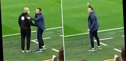 Watch Chelsea boss Frank Lampard tell Liverpool bench to 'f*** off' and order Jurgen Klopp to sit down during heated row