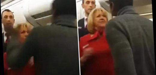 Black passenger who spat at air stewardess who responded by slapping him during elbow row reveals he's suing for racism