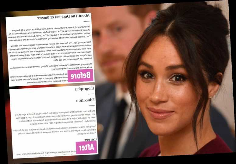 Meghan Markle's biography where she says 'I'm proud to be a feminist' is WIPED from Royal Family's official website