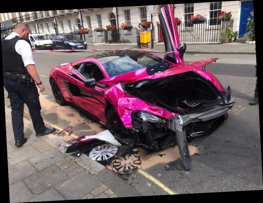 Supercar driver destroys pink £150,000 McLaren after losing control on posh central London street