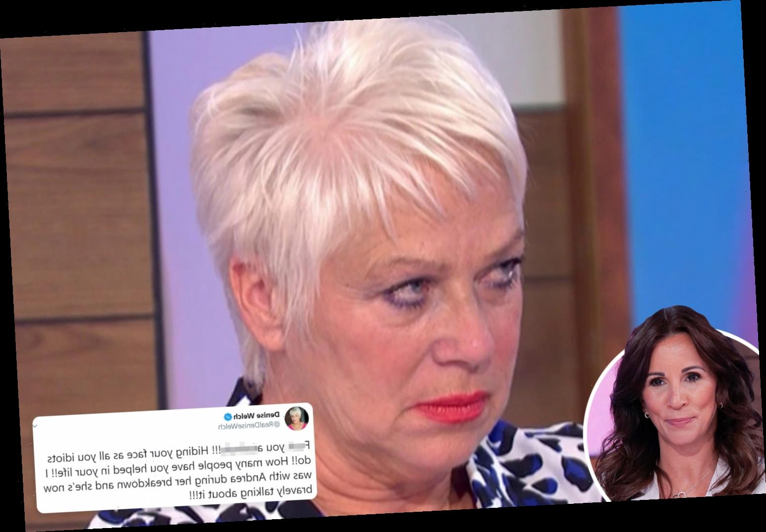 Denise Welch rages 'f*** you a**ehole' to cruel Loose Women viewer who accused Andrea McLean of faking her breakdown