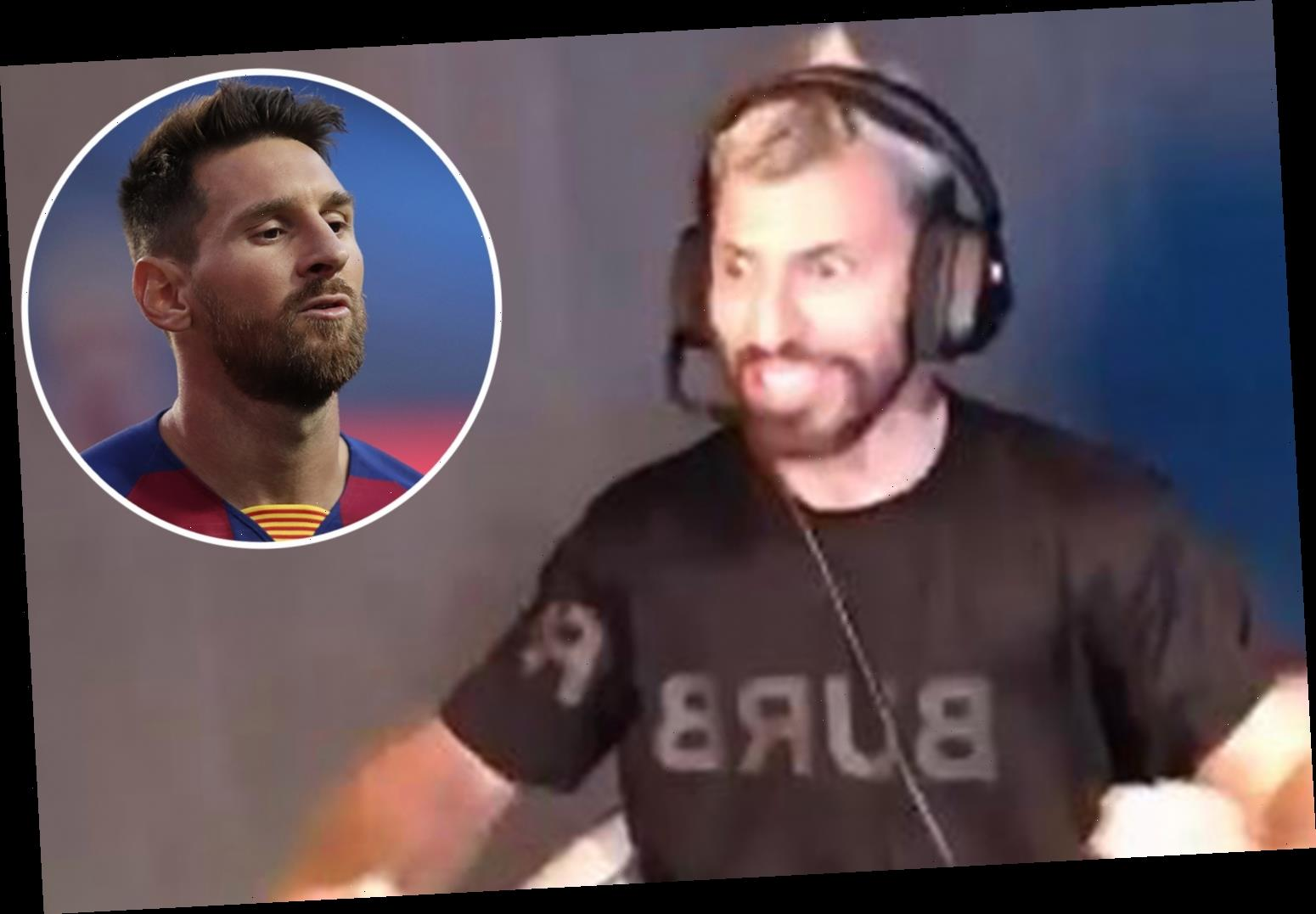 Messi's pal Aguero bans wantaway Barcelona star's name from live chat after being mobbed by fans wanting transfer news