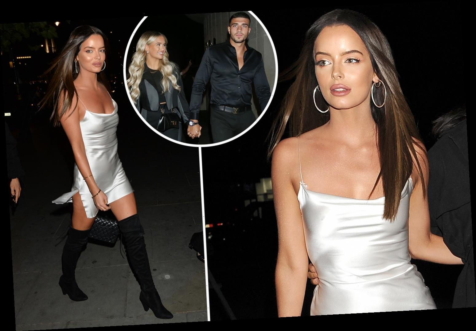 Maura Higgins stuns in a sexy silk dress for dinner out with Molly-Mae Hague and Tommy Fury