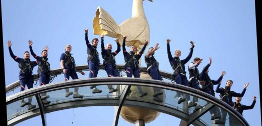 Tottenham stars brave the club's Dare Skywalk – a thrilling climb onto the ROOF overlooking London