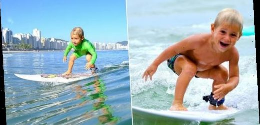 Boy, four, learned how to ride waves unaided at the age of two