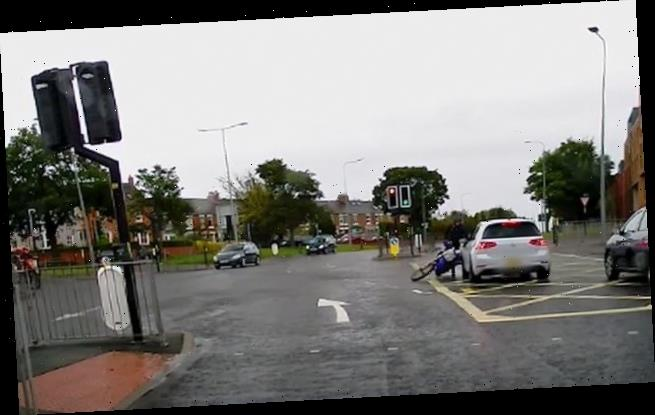 Moment motorcyclist smashes into car in Co Durham