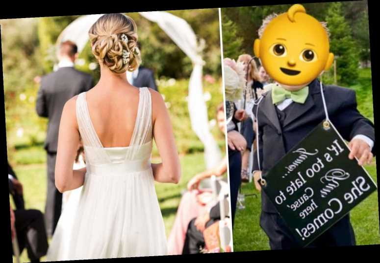 'Tacky' groom shamed for page boy's 'it's too late to run' wedding placard as his bride walks down the aisle