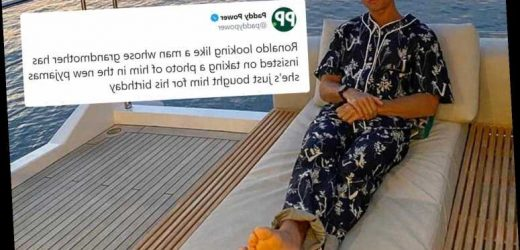 Cristiano Ronaldo does NOT look happy as Juventus star wears £1,800 Louis Vuitton pyjamas while on his luxury yacht
