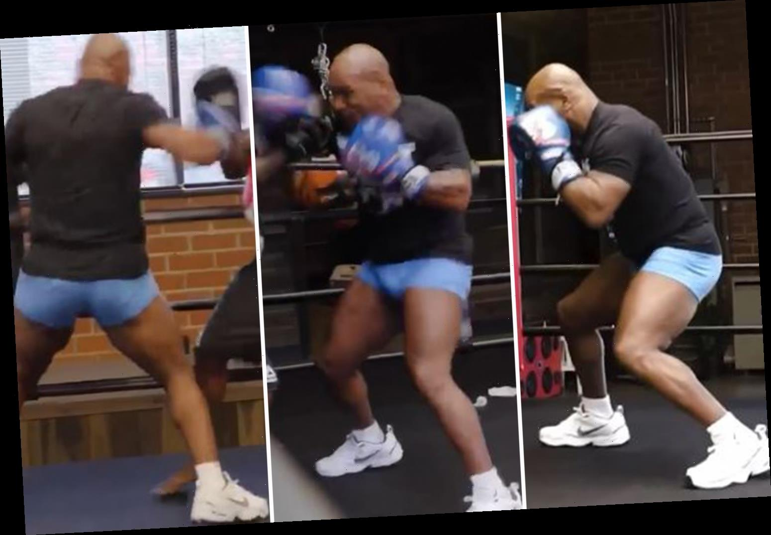Mike Tyson shows off blistering hand speed, power and head movement as ageless 54-year-old trains ahead of ring return