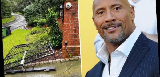 Dwayne 'The Rock' Johnson rips front gate from its hinges with his bare hands after power failure trapped him at home