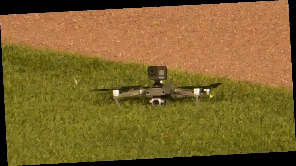 Drone lands in Wrigley Field outfield during game