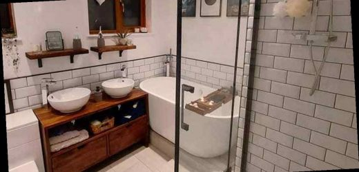 Couple give bathroom stunning DIY makeover using Etsy and Amazon buys