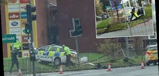 Three police officers injured after car crashed into grass embankment