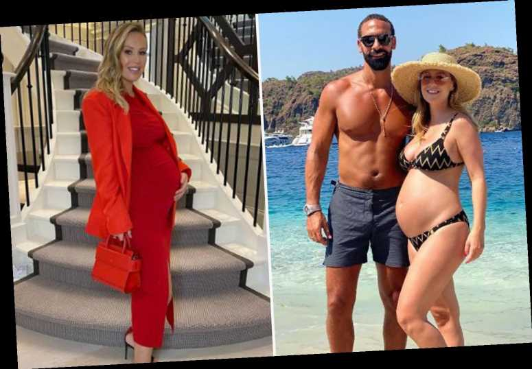 Kate Ferdinand shows off her growing baby bump in a stunning red outfit