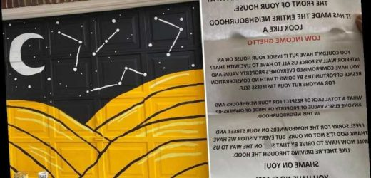Neighbour accuses woman of turning road into 'low income ghetto' in savage note after she paints her garage door yellow