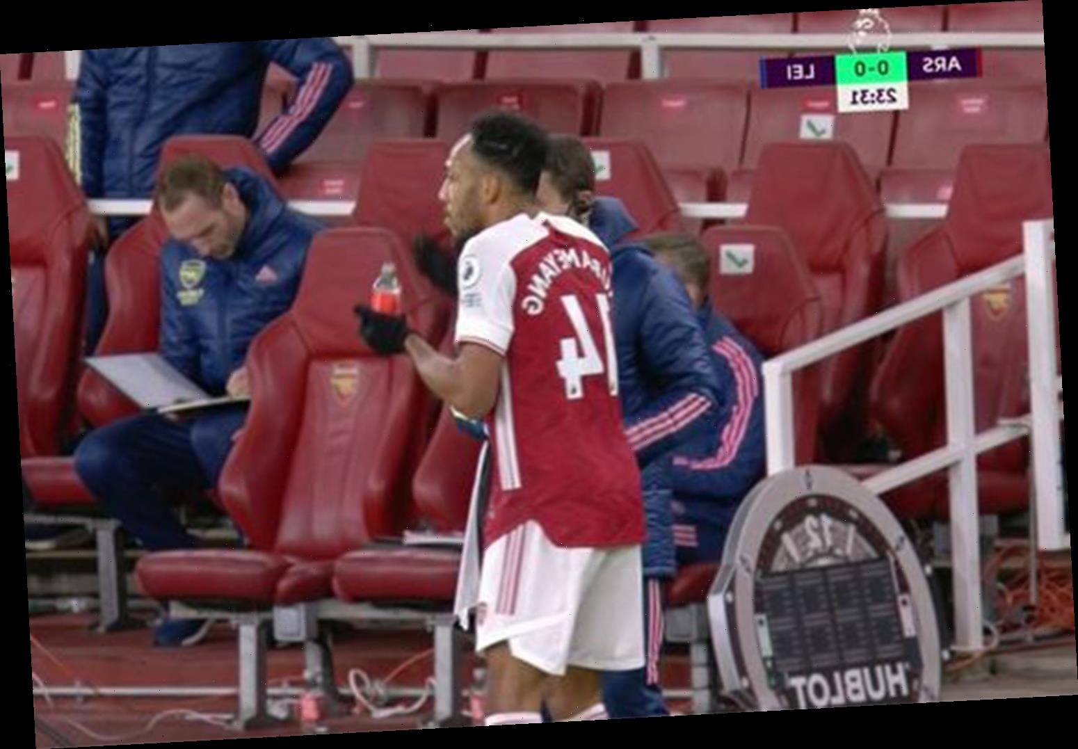 Worried Arsenal fans spot Aubameyang taking tablets from doctor during defeat to Leicester as star's barren run goes on