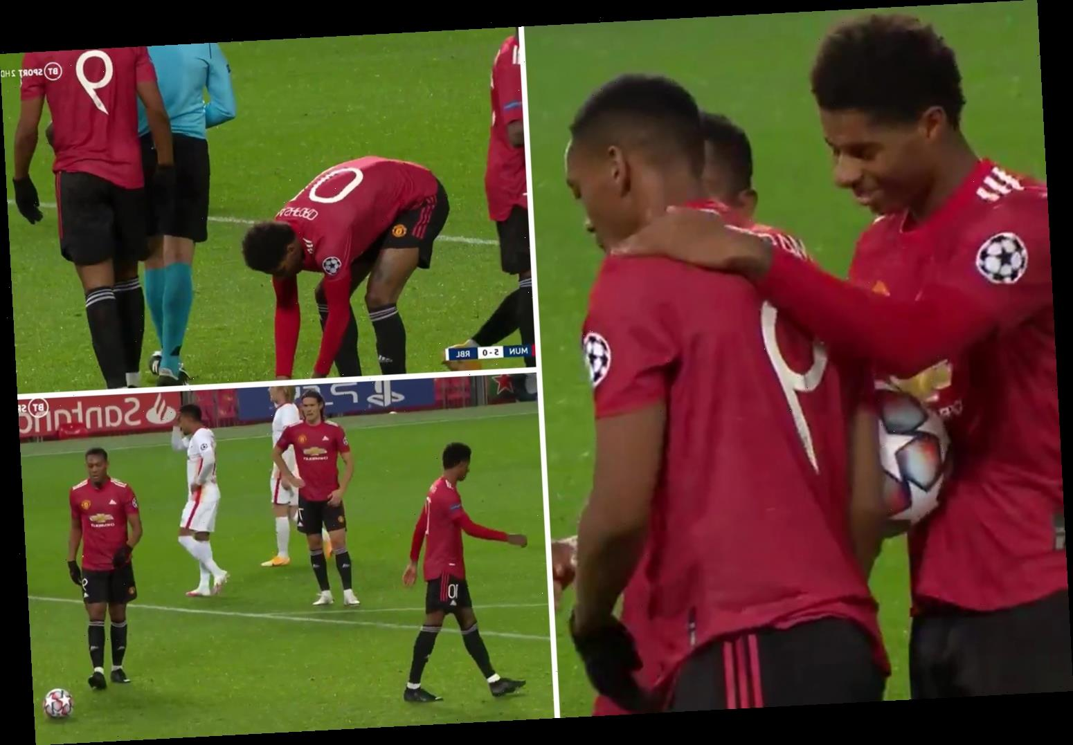 Watch Marcus Rashford hand penalty to Martial even though he's on a hat-trick as Man Utd star dubbed 'captain material'