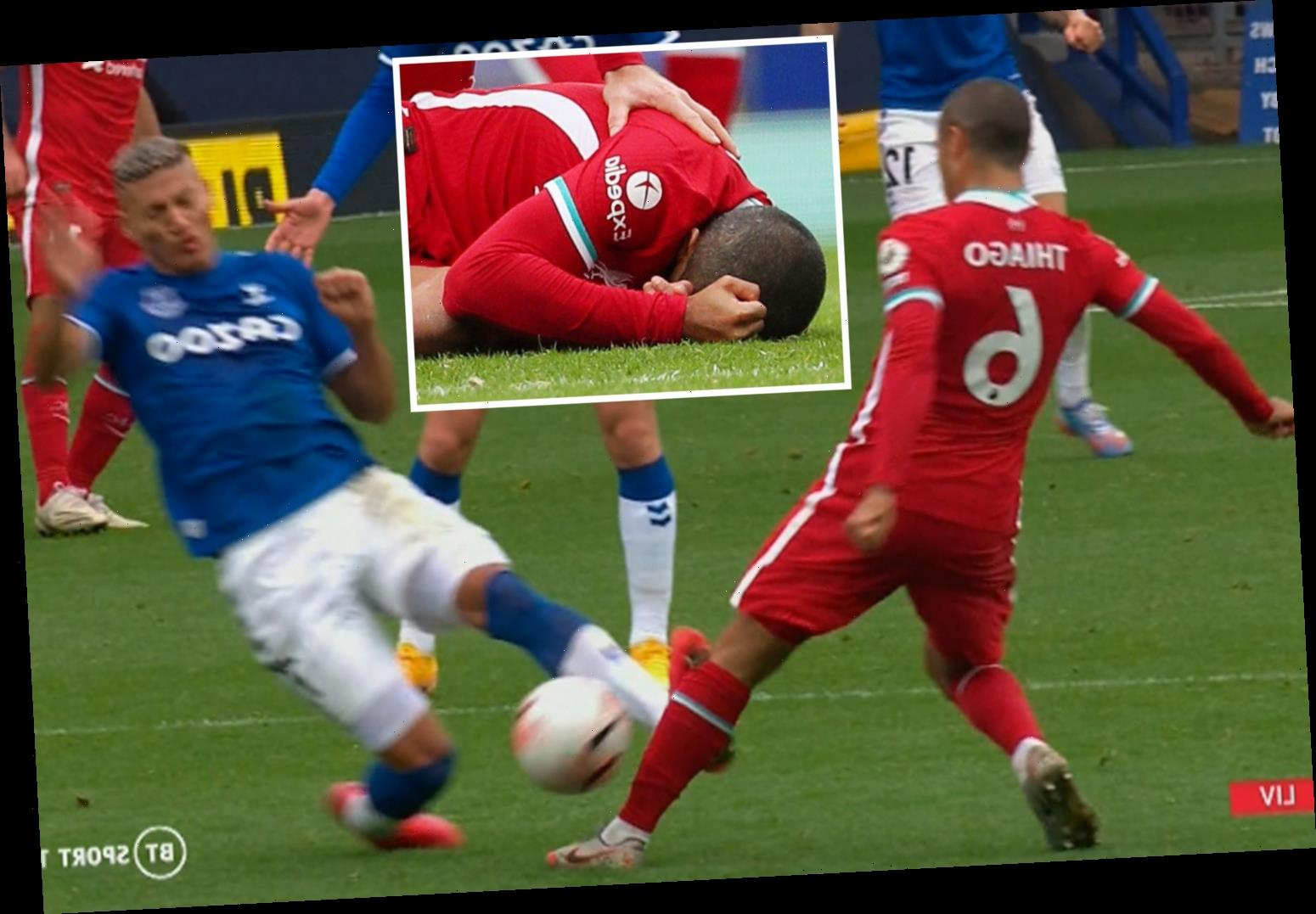 Richarlison writes Thiago an apology letter after seeing red for wild lunge on Liverpool midfielder in Everton draw