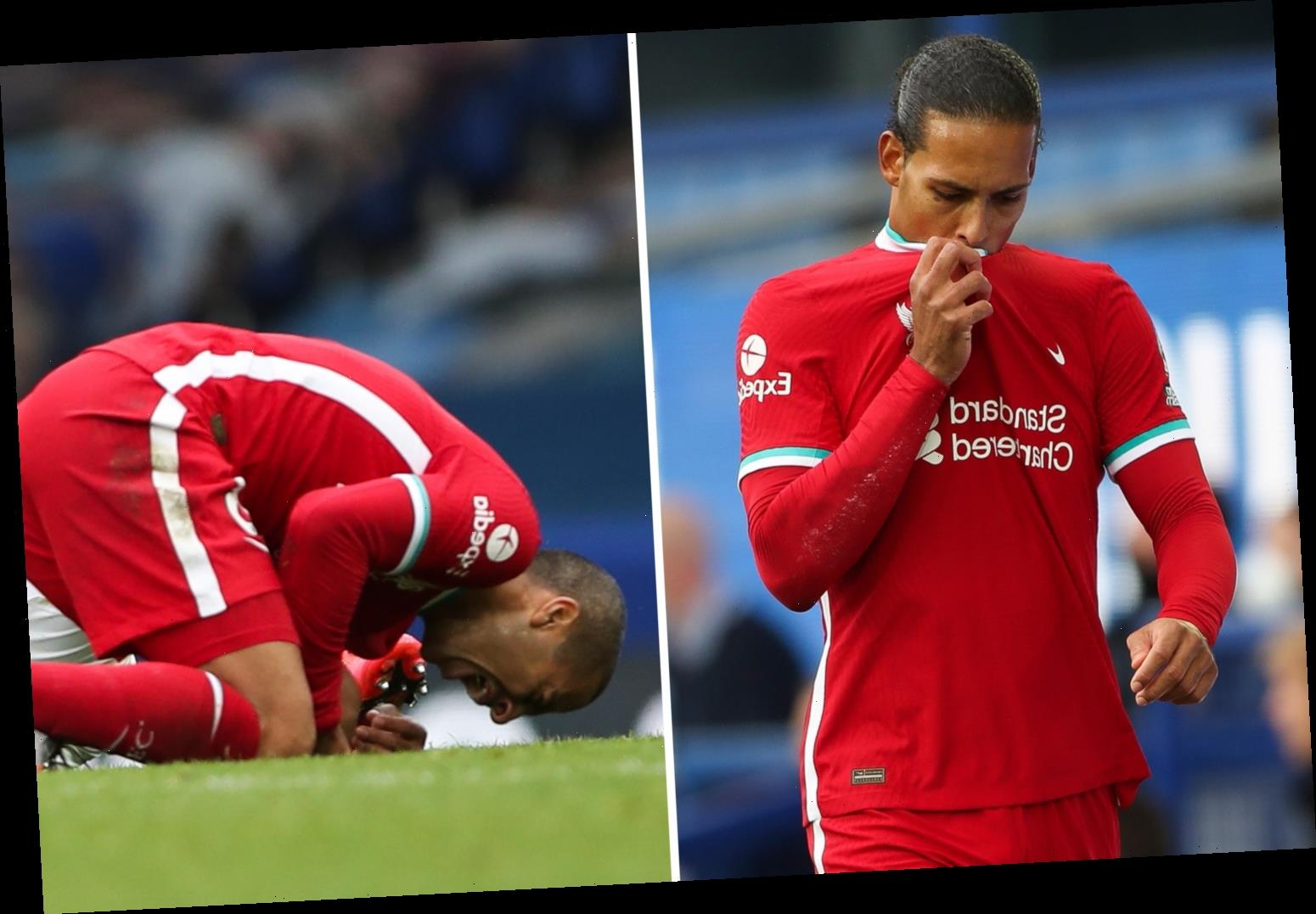 Liverpool pair Van Dijk and Thiago both sent to hospital for scans after brutal Merseyside derby draw with Everton
