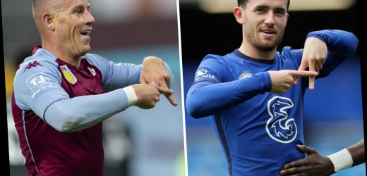 Ben Chilwell, Jack Grealish and Ross Barkley celebrate with 'A' symbol in honour of fan Andrew Wood who passed away