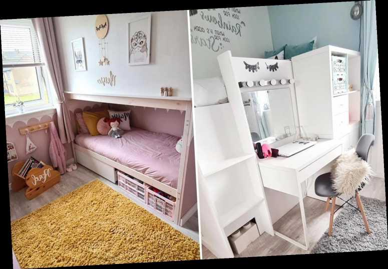 Thrifty mum uses bunk beds to split her daughters' room in two so they can both have some space & it's an instant hit