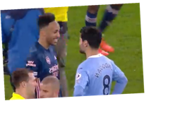 Arsenal fans angry at Aubameyang for smiling and laughing while chatting to Gundogan after Man City defeat