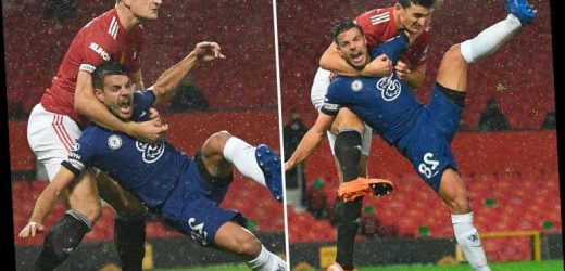 Harry Maguire wrestles Chelsea star Cesar Azpilicueta around neck but VAR ignores Man Utd star's 'WWE-style headlock'