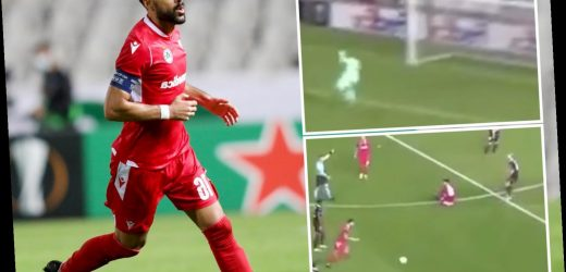 Watch Wigan legend Jordi Gomez score stunning free-kick from inside his OWN HALF in Europa League against PSV