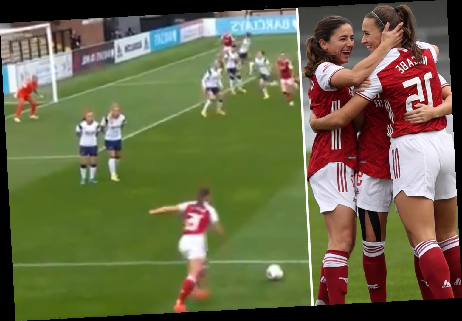 Katie McCabe sends Arsenal fans into meltdown with incredible free-kick against Tottenham