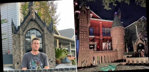 A family of 'Harry Potter' fans created a Halloween display that looks like the Hogwarts castle