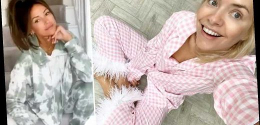From Holly Willoughby's cosy pyjamas to Michelle Keegan's makeup free look, these celebs are nailing lockdown style