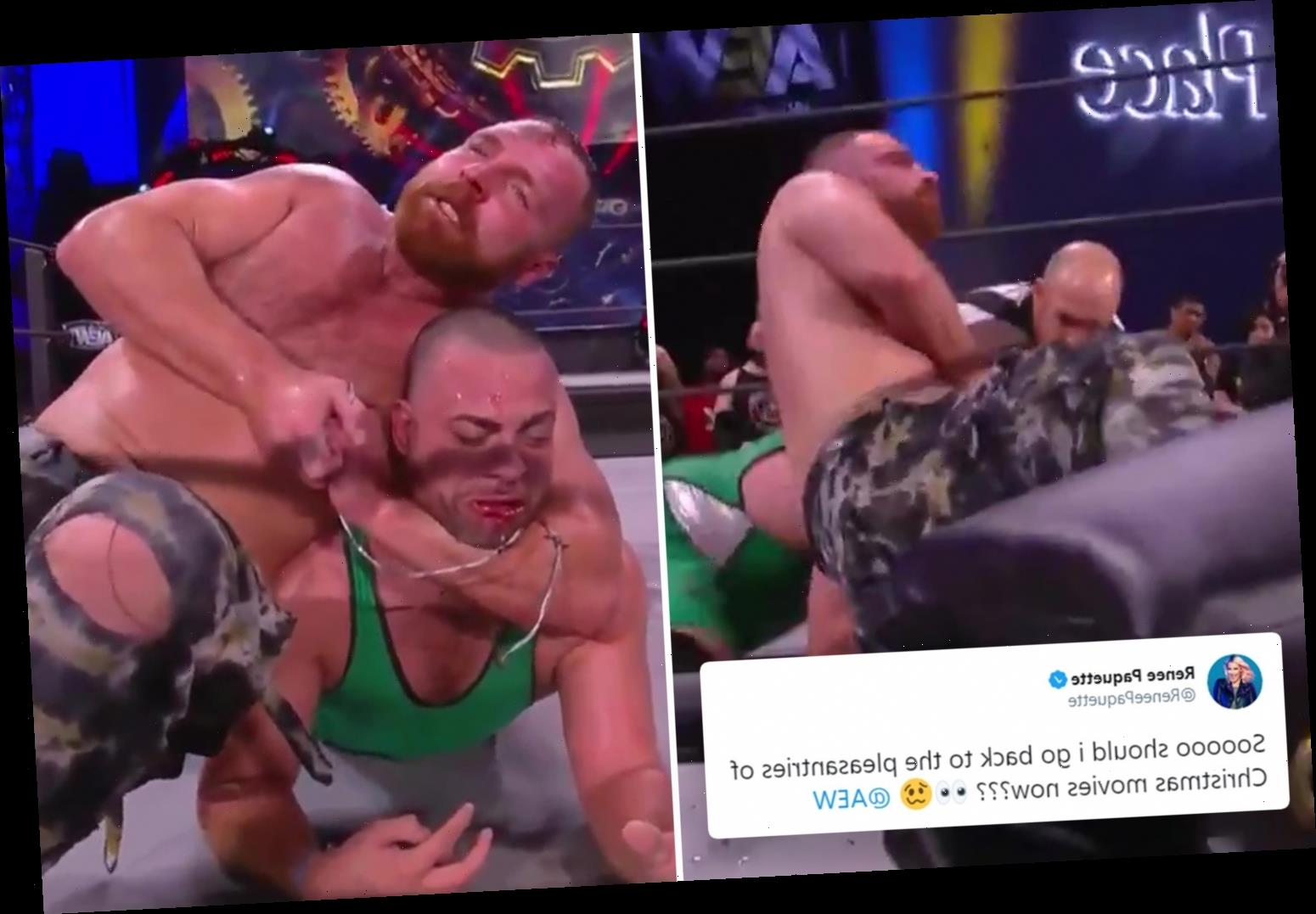AEW star Jon Moxley's wife Renee reacts to barbaric Full Gear match that left ex-WWE ace, aka Dean Ambrose, bloody mess