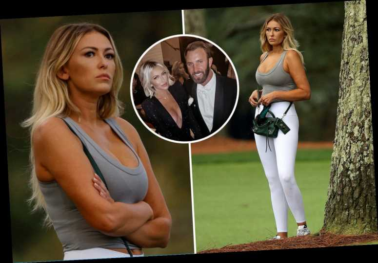 Dustin Johnson's fiancee Paulina Gretzky stuns in low-cut top while watching golf star at the Masters in Augusta