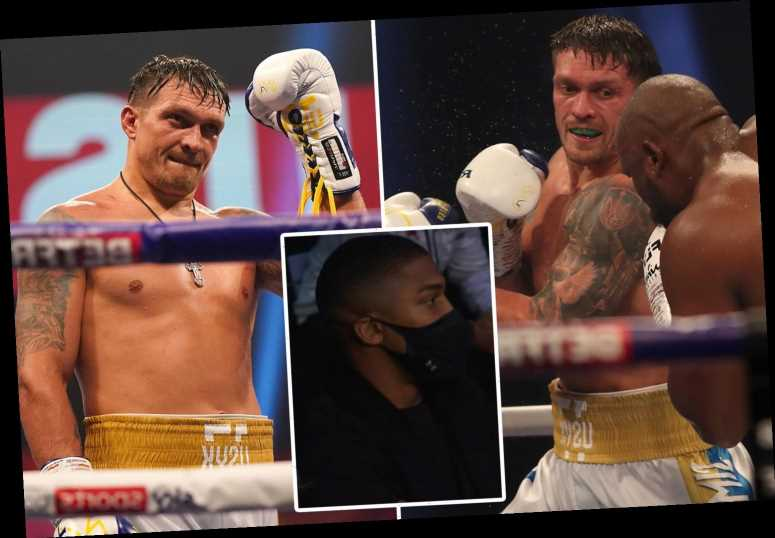Watch Anthony Joshua shout 'I'm coming Usyk' as footage emerges of heavyweight rivals' exchange after Chisora fight