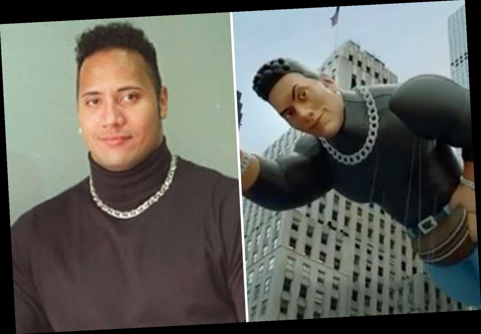 WWE legend The Rock gets incredible Macy's Thanksgiving Day parade float based on iconic turtle-neck photo from 90s