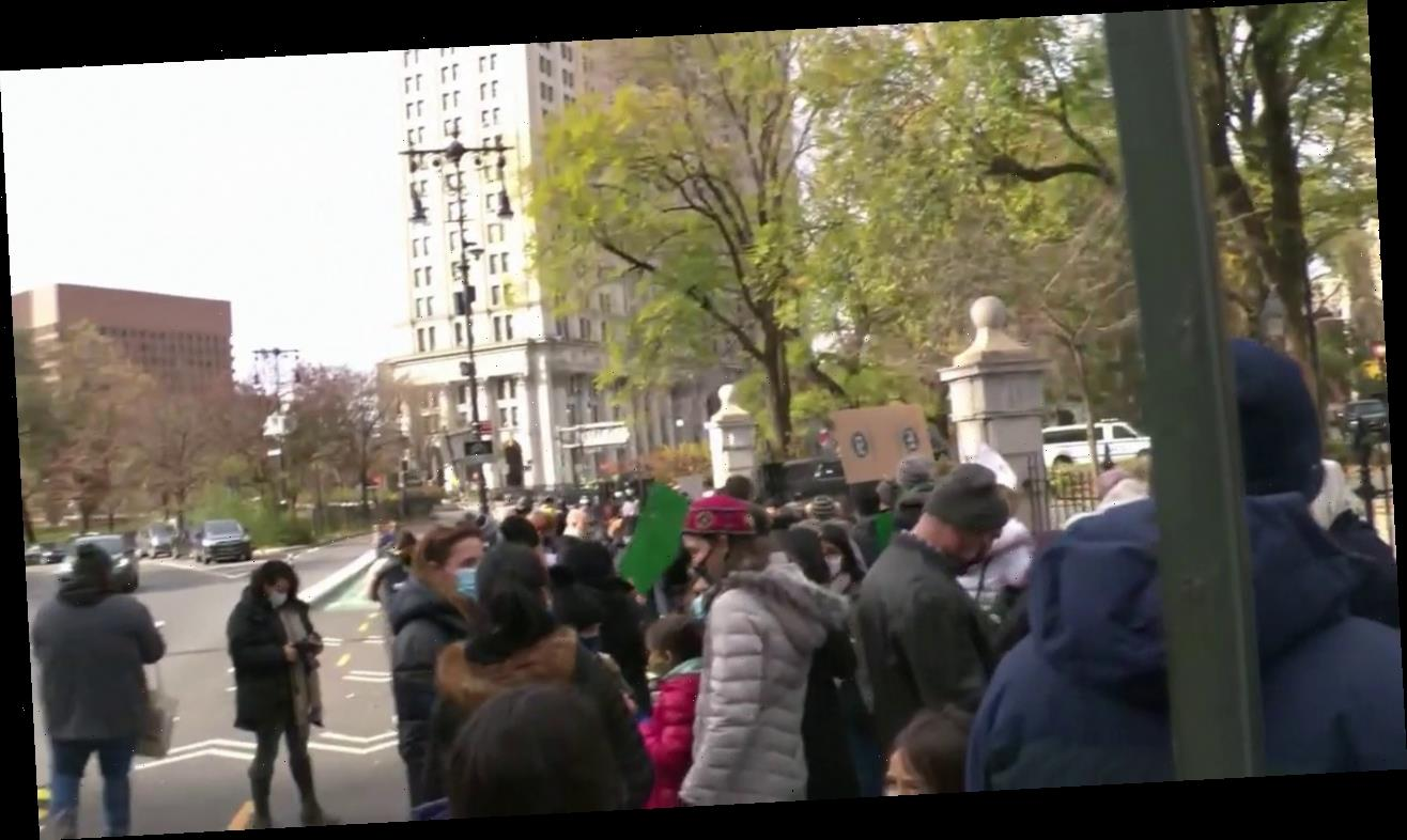 NYC protesters gather at City Hall after de Blasio closes public schools, but not private schools
