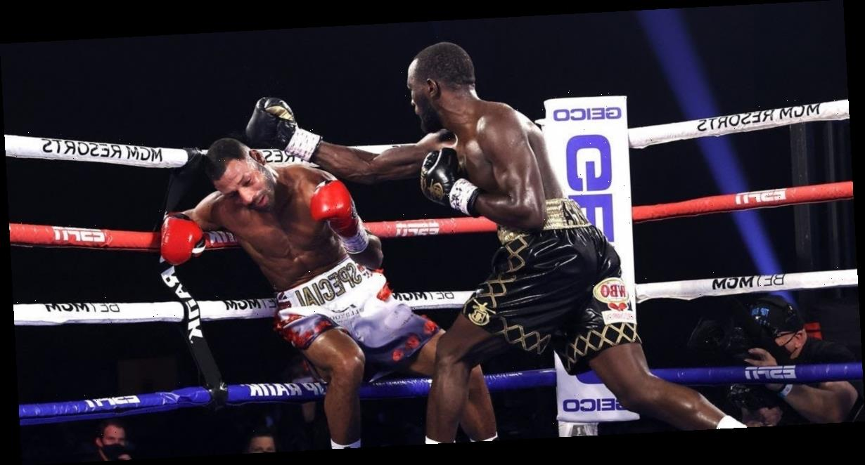 American boxer Terence Crawford thumped Kell Brook into the ropes, then used him as target practice to finish their fight