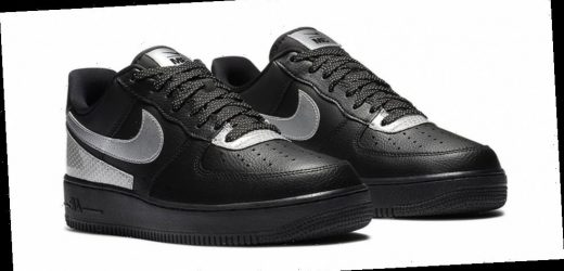 "3M Equips Nike Air Force 1 '07 LV8 ""Black/Metallic Silver"" With Shiny Scotchlite™ Trims"