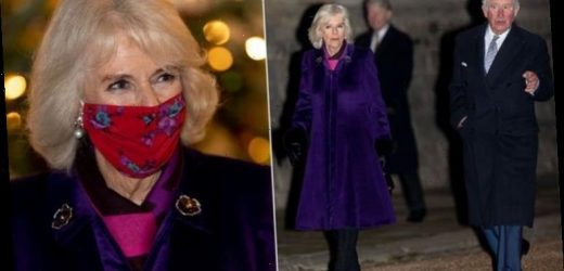 Camilla, Duchess of Cornwall wears festive purple coat by London couture designer