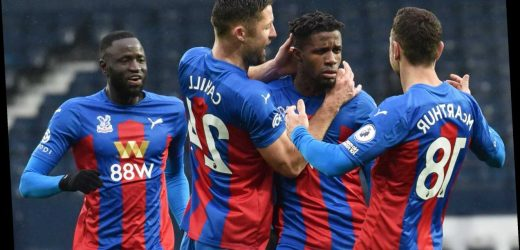 West Brom 1 Crystal Palace 5: Eagles batter ten-man Baggies as Zaha and Benteke score twice to keep hosts in drop zone