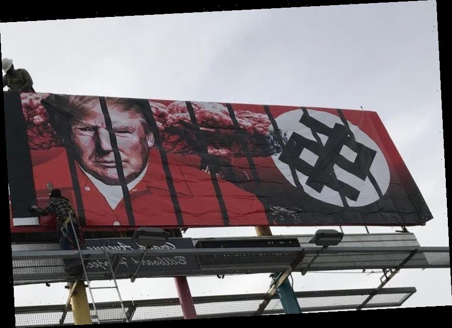 Fury as shocking billboard shows Trump in orange prison jumpsuit behind bars