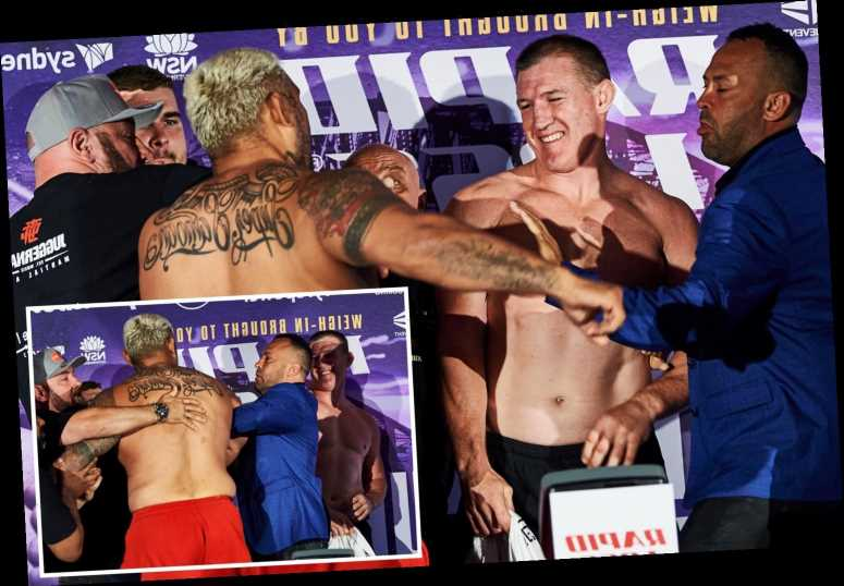 Watch UFC icon Mark Hunt take swing at NRL rival Paul Gallen at heated weigh-in ahead of boxing grudge match