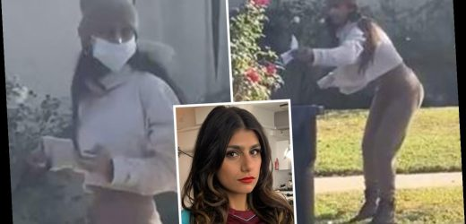 Ex-porn star Mia Khalifa uses face mask to pick up dog poo then puts it back on… but all is not quite as it seems