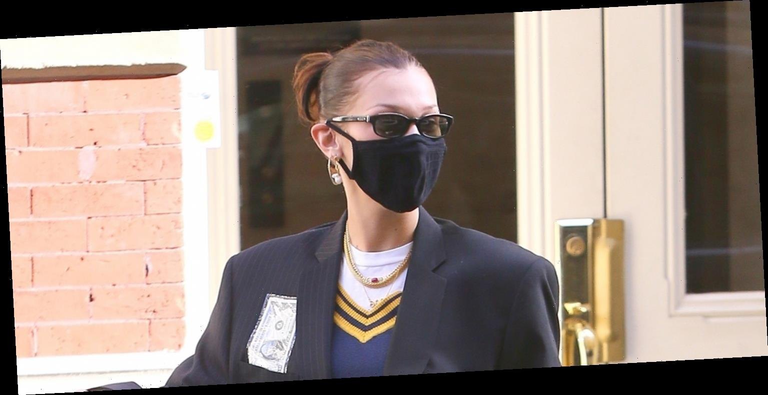 Bella Hadid Goes Preppy for Day Out with Friends