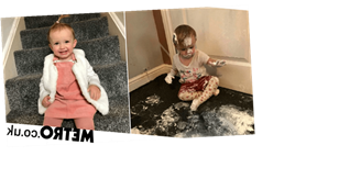 Toddler decides to 'copy Mr Tumble' and decorate carpet with a tub of Sudocrem