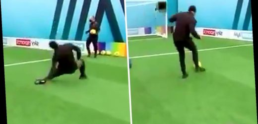 Joleon Lescott laughs off his hilarious Soccer AM appearance as he falls over and completely misses bicycle kick