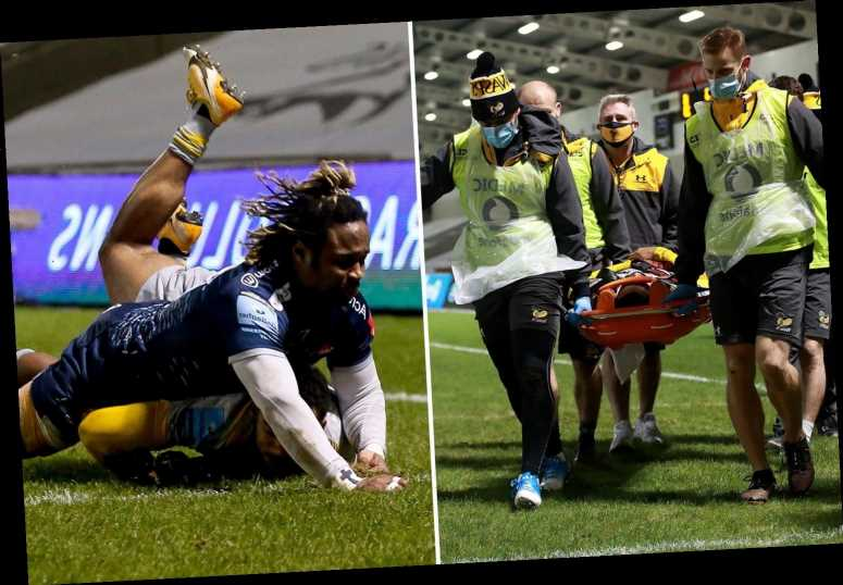 Zach Kibirige suffers horror head injury and is stretchered off after being 'knocked out cold' in Wasps' win over Sale