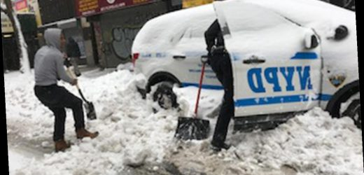 America Together: Good Samaritan helps NYPD officer shovel police cruiser out of snow pile up
