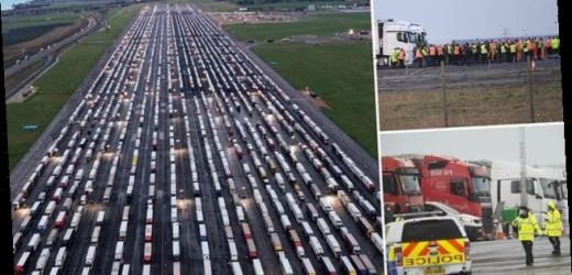 Earth swallows Brexit lorry park: 12ft-deep 'sinkhole'